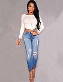 abordables Bufandas de Moda-Mujer Camiseta, Escote Barco Un Color Algodón