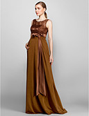 Χαμηλού Κόστους Φορέματα Παρανύμφων-Ίσια Γραμμή Scoop Neck Μακρύ Δαντέλα / Πλεκτό Φόρεμα Παρανύμφων με Δαντέλα με LAN TING BRIDE® / Ανοικτή Πλάτη