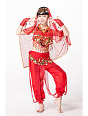 cheap Belly Dancewear-Outfits Performance Chiffon / Sequined Beading / Sequin / Coin Sleeveless Natural Top / Pants / Headwear / Belly Dance