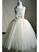 hesapli Çiçekçi Kız Elbiseleri-A-Şekilli Kare Yaka Bilek Boyu İpek Fiyonk / Kurdeleler / Çiçekli ile Çiçekçi Kız Elbisesi tarafından LAN TING Express