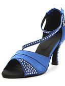 hesapli Latin Dans Giysileri-Kadın's Latin Dans Ayakkabıları / Balo Saten Sandaletler Kristal Kişiye Özel Kişiselleştirilmiş Dans Ayakkabıları Mavi / Mor / Deri
