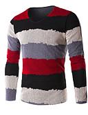 billige Damekjoler-Herre Fritid / hverdag / Arbeid / Plusstørrelser Stripet Langermet Normal Pullover Rød / Grønn / Blå