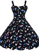 baratos Vestidos de Mulher-Mulheres Tamanhos Grandes Vintage Evasê Vestido - Flor Estampado, Floral Geométrica Com Alças Altura dos Joelhos