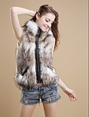 baratos Trench Coats e Casacos Femininos-Mulheres Curto Colete Diário Vintage Inverno, Simples Pêlo Sintético Gola Alta Zíper