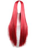 tanie Damskie czapki i kapelusze-Peruki syntetyczne Damskie Prosta Czerwony Fryzura asymetryczna Włosie synetyczne Naturalna linia włosów Czerwony Peruka Długie Bez czepka Czerwony