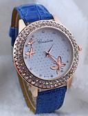 preiswerte Modische Uhren-Damen Armbanduhr Quartz Schlussverkauf PU Band Analog Schmetterling Modisch Schwarz / Weiß / Blau - Rot Blau Rosa
