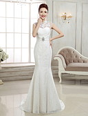 cheap Wedding Dresses-Mermaid / Trumpet High Neck Sweep / Brush Train Lace Made-To-Measure Wedding Dresses with Beading / Appliques by / Open Back