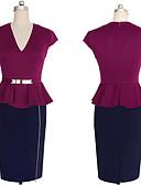 baratos Mini Vestidos-Mulheres Tubinho Vestido - Frufru, Estampa Colorida Decote V Cintura Alta
