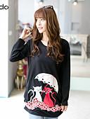 abordables Jerséis de Mujer-Mujer Frunce / Estampado - Algodón Camiseta / Otoño