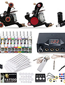 cheap Sport Watches-Tattoo Machine Starter Kit - 2 pcs Tattoo Machines with 20 x 5 ml tattoo inks, Professional LCD power supply Case Not Included 2 cast iron machine liner & shader