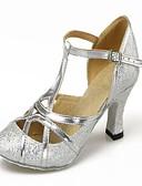 זול עליוניות לחתונה-בגדי ריקוד נשים נעליים מודרניות / ריקודים סלוניים Paillette / דמוי עור עקבים נצנצים עקב קובני ללא התאמה אישית נעלי ריקוד כסף / מוזהב