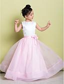 hesapli Çiçekçi Kız Elbiseleri-A-Şekilli Scoop Boyun Yere Kadar Organze / Saten Çiçekli ile Çiçekçi Kız Elbisesi tarafından LAN TING BRIDE®