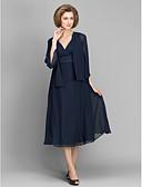 hesapli Gece Elbiseleri-A-Şekilli V Yaka Diz Altı Şifon Dantel ile Gelin Annesi Elbisesi tarafından LAN TING BRIDE®