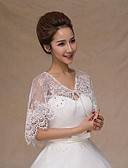 cheap Wedding Dresses-Sleeveless Lace Wedding / Party Evening / Casual Wedding  Wraps With Rhinestone Capelets