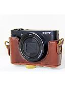 billige Trendy klokker-dengpin® PU lær kameraveske bag dekke med skulderstropp for Sony DSC-hx90v hx90 wx500 (assorterte farger)