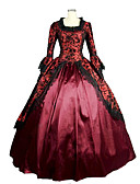 cheap Historical & Vintage Costumes-Rococo Victorian Medieval Square Neck Costume Women's Dress Party Costume Masquerade Ball Gown Fuchsia Vintage Cosplay Lace Satin Long Sleeve Poet Sleeve Floor Length Long Length Ball Gown