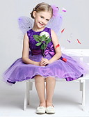 cheap Flower Girl Dresses-A-Line Tea Length Flower Girl Dress - Cotton / Polyester / Tulle Sleeveless Jewel Neck with Bow(s) / Sash / Ribbon / Pleats by LAN TING Express