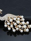 ieftine Chic Colorful Chiffon Scarves-Pentru femei Broșe - Perle, Cristal, Zirconiu Cubic Păun Petrecere, Birou, Modă Broșă Auriu / Alb Pentru Nuntă / Petrecere / Ocazie specială