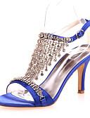 זול שמלות נשף-בגדי ריקוד נשים נעליים סטן אביב / קיץ נוחות עקבים עקב סטילטו אדום / כחול / קריסטל / חתונה / מסיבה וערב