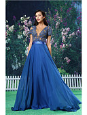 Χαμηλού Κόστους Βραδινά Φορέματα-Γραμμή Α Με Κόσμημα Μακρύ Σιφόν / Δαντέλα / Σατέν Επίσημο Βραδινό Φόρεμα με Ζώνη / Κορδέλα / Εισαγωγή δαντέλας με TS Couture®