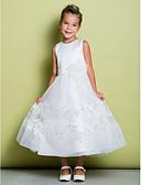 hesapli Çiçekçi Kız Elbiseleri-A-Şekilli Taşlı Yaka Bilek Boyu Dantelalar / Organze / Saten Dantel / Çiçekli ile Çiçekçi Kız Elbisesi tarafından LAN TING BRIDE®