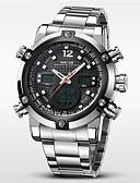 preiswerte Luxusuhren-WEIDE Herrn Armbanduhr Alarm / Kalender / Chronograph Edelstahl Band Luxus Silber / Wasserdicht / LCD / Duale Zeitzonen / Zwei jahr / Maxell626 + 2032