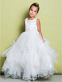 hesapli Çiçekçi Kız Elbiseleri-A-Şekilli Taşlı Yaka Yere Kadar Organze / Saten Boncuklama / Aplik ile Çiçekçi Kız Elbisesi tarafından LAN TING BRIDE®