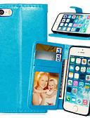 זול מגנים לאייפון-מגן עבור אייפון 5 / Apple iPhone SE / 5s / iPhone 5 ארנק / מחזיק כרטיסים / עם מעמד כיסוי מלא אחיד קשיח עור PU