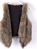 olcso Kabát & Viharkabát-Kabátok / dzsekik / Top Coat V-alakú Női Szőrmekabát - Egyszínű / Tömör szín, Előírásos stílus Műszőrme / Tél