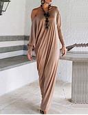 baratos Vestidos Longos-Mulheres Simples Algodão Solto Vestido - Frufru, Sólido Longo