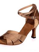 ieftine Rochii de Damă-Pentru femei Pantofi Dans Latin Satin Sandale Toc Flared NePersonalizabili Pantofi de dans Argintiu / Maro / Auriu / Interior / Performanță / Piele / Antrenament