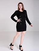 preiswerte Kleider-Damen Kleid - Übergrößen Übergröße / Sexy Solide Übers Knie Baumwoll-Mischung V-Ausschnitt
