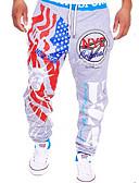 ieftine Pantaloni Bărbați si Pantaloni Scurți-Bărbați Activ Bumbac Activ / Relaxat / Pantaloni Sport Pantaloni - Imprimeu / Scrisă Stil modern Negru
