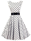 hesapli Kadın Elbiseleri-Kadın's Vintage Pamuklu A Şekilli Elbise - Yuvarlak Noktalı, Büzgülü Diz-boyu Beyaz