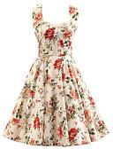preiswerte Damen Kleider-Damen Retro Baumwolle A-Linie Kleid - Schleife, Blumen Knielang Halter