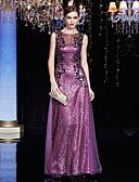 preiswerte Kleider für besondere Anlässe-Eng anliegend Illusionsausschnitt Boden-Länge Charmeuse / Pailletten Kleid mit Paillette / Applikationen durch