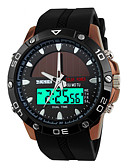 cheap Sport Watches-SKMEI Men's Sport Watch / Wrist Watch Alarm / Calendar / date / day / Chronograph PU Band Luxury Black / Solar Energy / Water Resistant / Water Proof / Dual Time Zones / Two Years / Maxell626+2025