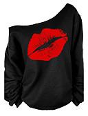 baratos Vestidos Vintage-Mulheres Camiseta - Para Noite Moda de Rua Franzido / Estampado, Gráfico Algodão Assimétrico Solto Preto & Branco / Sexy