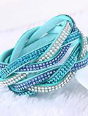 cheap Panties-Women's Crystal Layered Wrap Bracelet - Leather, Rhinestone, Imitation Diamond Luxury, Unique Design, Fashion Bracelet Green / Blue / Light Blue For Christmas Gifts Wedding Party