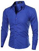 cheap Men's Shirts-Men's Work Plus Size Cotton Slim Shirt - Solid Colored Basic Spread Collar / Long Sleeve