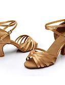 hesapli Tişört-Kadın's Latin Dans Ayakkabıları / Salsa Ayakkabıları / Samba Ayakkabıları Saten / Yapay Deri Sandaletler Toka Kişiye Özel / İç Mekan