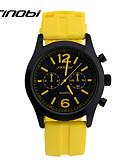 hesapli Spor Saat-SINOBI Erkek Spor Saat Bilek Saati Quartz Silikon Sarı 30 m Su Resisdansı Spor Saat Havalı Analog Klasik - Sarı
