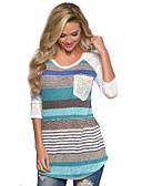 cheap Evening Dresses-Women's Cotton T-shirt - Striped Flower Print