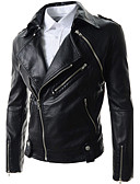 cheap Men's Jackets & Coats-Men's Fashion Faux Leather Jacket-Solid Colored