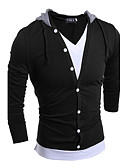 cheap Men's Shirts-Men's Sports Club Street chic Cotton T-shirt - Solid Colored Hooded