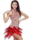cheap Ice Skating Dresses , Pants & Jackets-Latin Dance Dresses Women's Performance Polyester / Sequined Tassel Dress / Samba