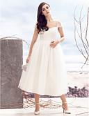 preiswerte Hochzeitskleider-A-Linie Queen Anne Tee-Länge Tüll Benutzerdefinierte Brautkleider mit Überkreuzte Rüschen durch LAN TING BRIDE®