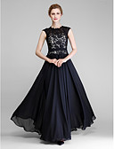 cheap Mother of the Bride Dresses-A-Line Jewel Neck Floor Length Chiffon / Lace Mother of the Bride Dress with Lace by LAN TING BRIDE®