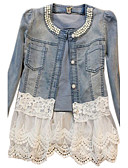 cheap Women's Sweaters-Women's Cotton Denim Jacket-Solid Colored,Patchwork / Lace / Spring / Fall