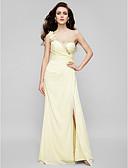 levne Svatební šaty-Pouzdrové Jedno rameno Na zem Šifón Formální večer Šaty s Korálky / Sklady podle TS Couture®
